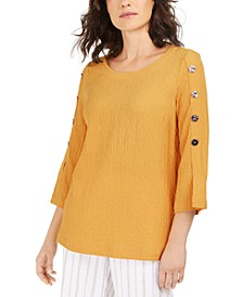 Button-Sleeve Crinkle Top, Created for Macy's
