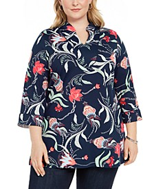 Plus Size Floral Print Tunic, Created for Macy's