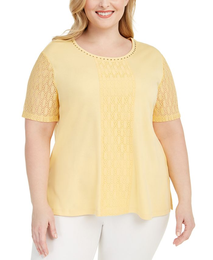 Alfred Dunner - Plus Size Classics Lace-Embellished Top