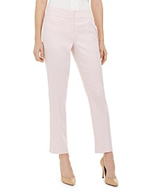 Petite Herringbone Straight-Leg Dress Pants