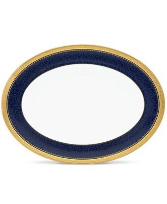 """Odessa Cobalt Gold Oval Platter, 12"""""""