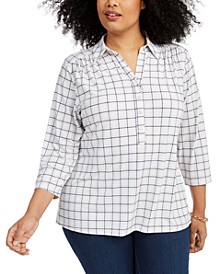 Plus Size Plaid Polo Shirt, Created for Macy's