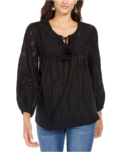 Style & Co Eyelet Tassele Blouse, Created for Macy's