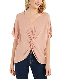 Petite Crinkled Twist-Front Top, Created for Macy's
