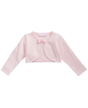 Bonnie Baby Baby Girls Picot & Bow Cotton Cardigan
