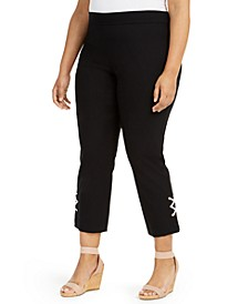 Plus Size Embellished-Hem Capri Pants, Created for Macy's