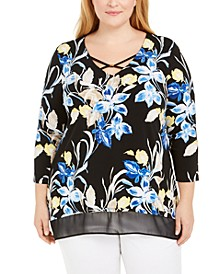 Plus Size Embellished Printed Tunic, Created for Macy's