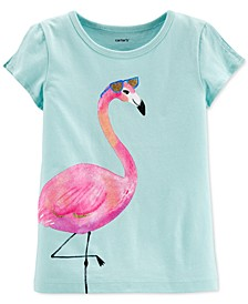 Toddler Girls Cotton Flamingo Split Sleeve T-Shirt