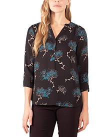Petite Printed Y-Neck Top