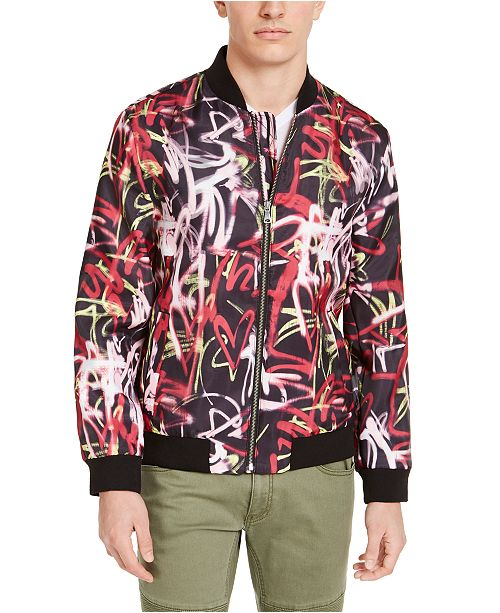 INC International Concepts INC Men's Graffiti Graphic Bomber Jacket, Created For Macy's
