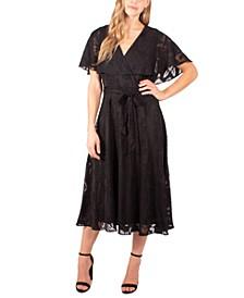 Petite Burnout Cape-Sleeve Fit & Flare Dress