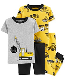 Baby Boys 4-Pc. Construction Cotton Pajamas Set