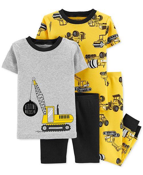 Carter's Baby Boys 4-Pc. Construction Cotton Pajamas Set