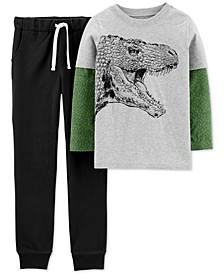 Little & Big Boys 2-Pc. Cotton Layered-Look Dino-Print T-Shirt & Jogger Pants Set