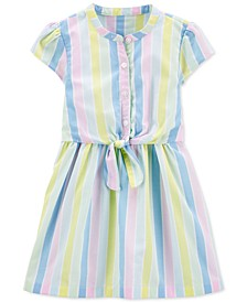 Toddler Girls Cotton Striped Bow-Front Shirtdress