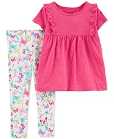 Toddler Girls 2-Pc. Ruffle Top & Butterfly-Print Leggings Set