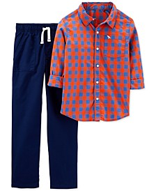 Little & Big Boys 2-Pc. Cotton Plaid Shirt & Poplin Pants Set