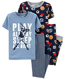 Little & Big Boys 4-Pc. Play All Day Sports Cotton Pajamas Set
