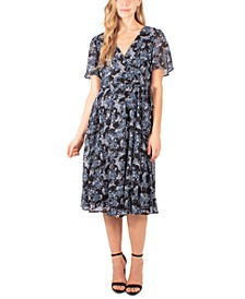Petite Printed Flutter-Sleeve A-Line Dress