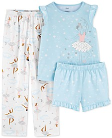 Little & Big Girls 3-Pc. Ballerina Pajamas Set