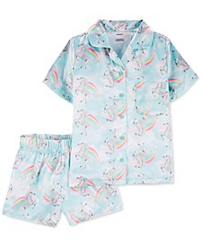 Little & Big Girls 2-Pc. Rainbow-Print Coat-Style Satin Pajamas Set