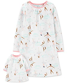 Little & Big Girls 2-Pc. Ballerina-Print Nightgown & Doll Nightgown Set