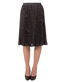 Petite Dot-Print Pleated Skirt
