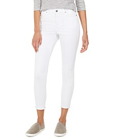 Petite Uptown Cropped Frayed-Hem Jeans, Created for Macy's