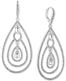 Silver-Tone Crystal Teardrop Orbital Drop Earrings