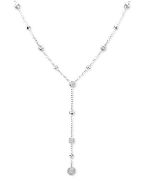 """Lauren Ralph Lauren Silver-Tone Crystal Lariat Necklace, 16"""" + 3"""" extender"""