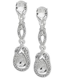 Silver-Tone Crystal Clip-On Linear Drop Earrings