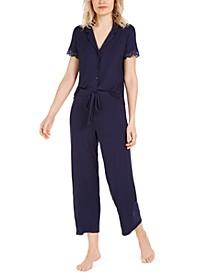 Lace-Trim Jersey Knit Pajama Set