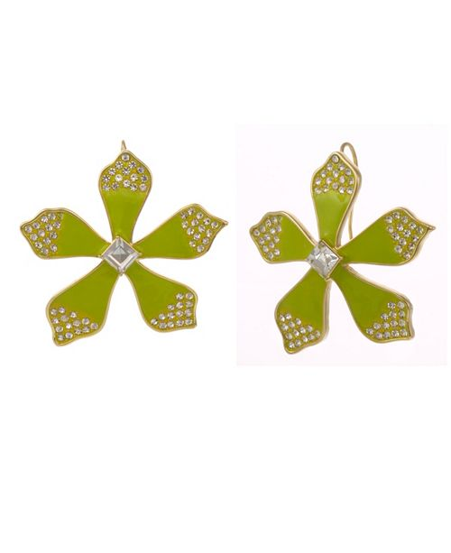 Christian Siriano New York Gold Tone and Enamel Flower Button Earrings