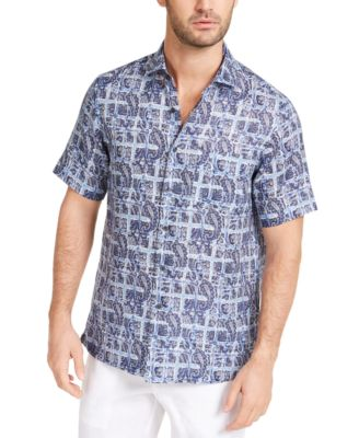 Tasso Elba Mens Geometric Button Up Dress Shirt