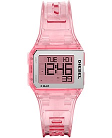 Men's Digital Chopped Pink Polyurethane Strap Watch 33x38mm