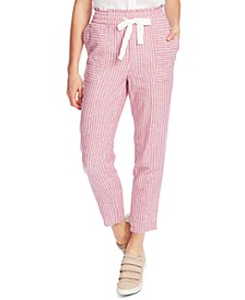 Striped Drawstring-Waist Pants