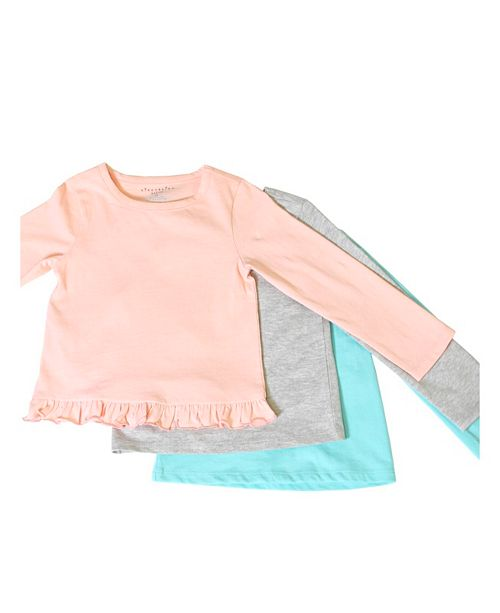 Kinderkind Toddler, Little, and Big Girls 3-Pack Solid Long-Sleeve Tee Shirts
