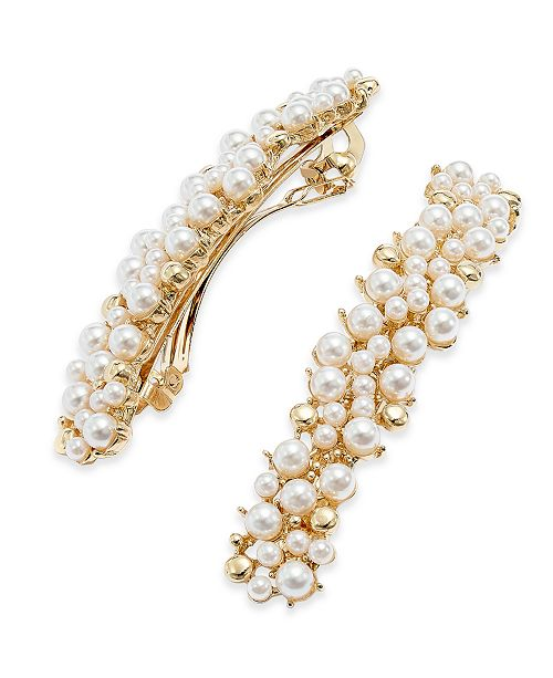 INC International Concepts INC Gold-Tone Imitation Pearl Hair Clips, Created For Macy's