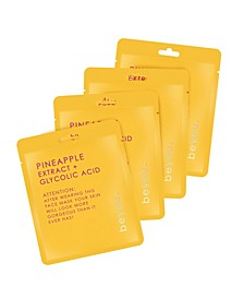 Pineapple with Glycolic Acid Facial Mask, Set of 4