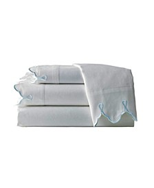 300 TC Scalloped Embroidered Sheet Set, Queen