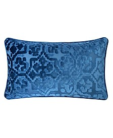 Iris Modern Cut Velvet Rectangle Decorative Throw Pillow