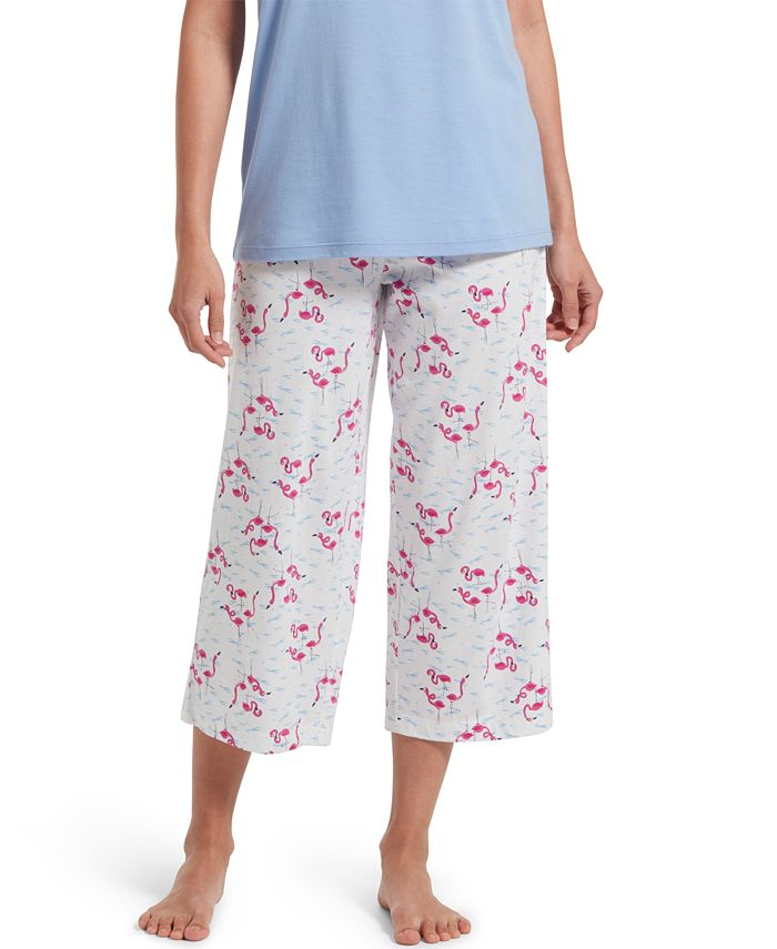Hue - Cotton Temp Tech Flamingo-Print Capri Pajama Pants