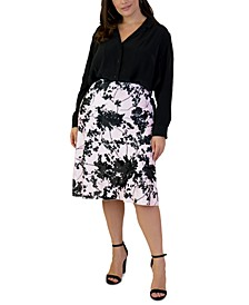 Plus Size Satin Bias-Cut Midi Skirt