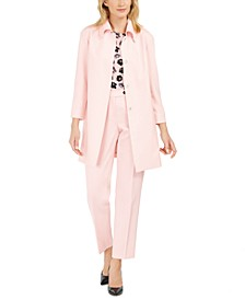 Twill Topper Jacket, Floral-Print Top & Twill Pants