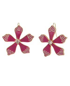 Gold Tone and Enamel Flower Button Earrings