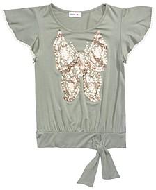 Big Girls Butterfly Flutter-Sleeve Top