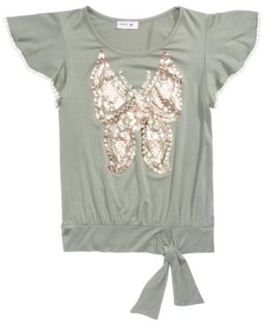 Beautees Big Girls Butterfly Flutter-Sleeve Top