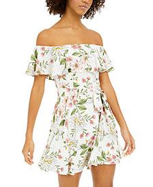 City Studios Juniors' Printed Ruffled Off-The-Shoulder Fit & Flare Dress