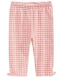 Baby Girls Gingham-Print Keyhole Capri Pants, Created for Macy's