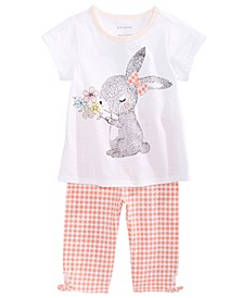 Baby Girls Bunny-Print Cotton T-Shirt & Gingham-Print Capri Pants, Created for Macy's